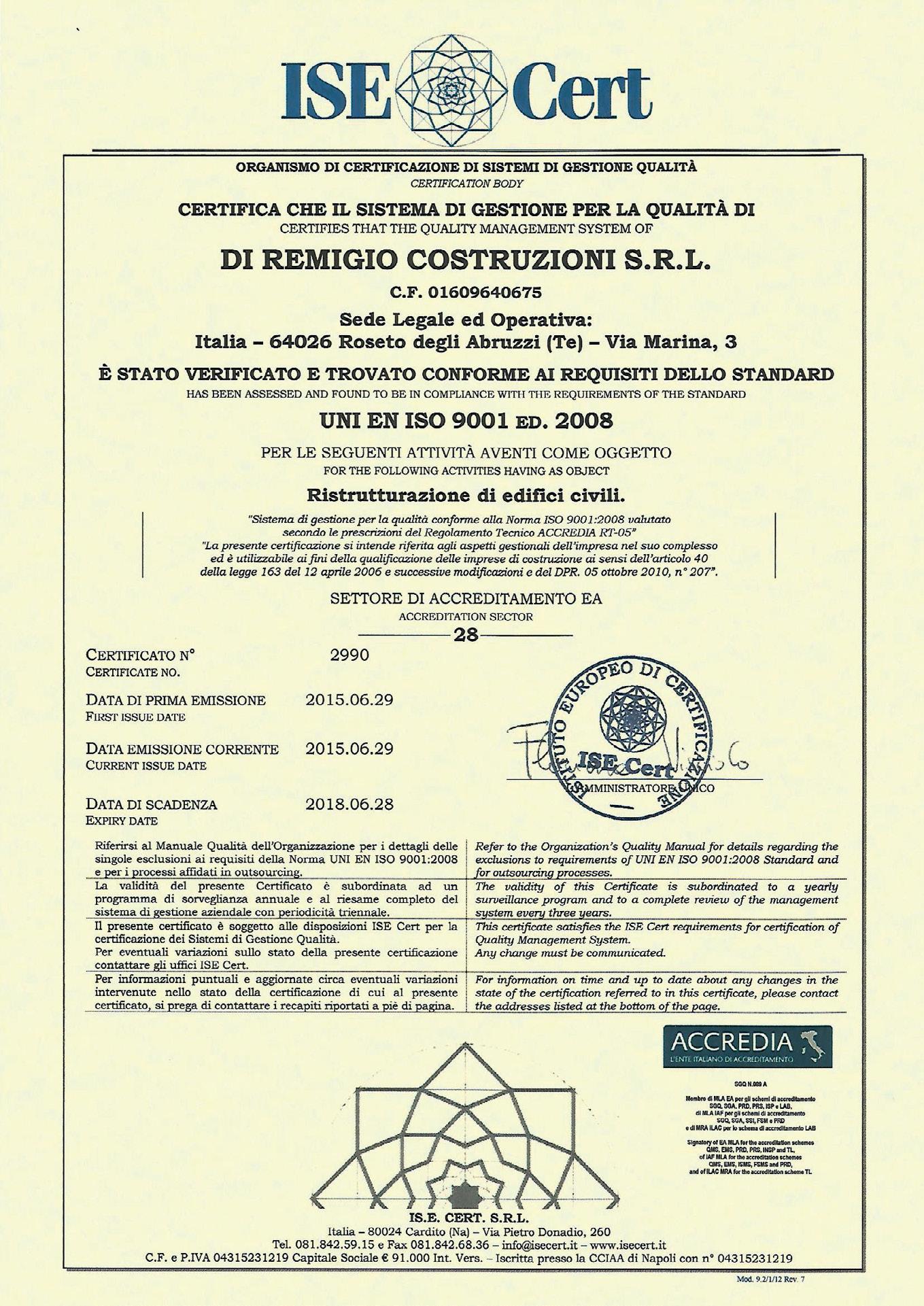ISO 9001:2008 rilasciato da ISE Cert srl